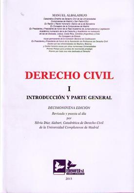 Derecho Civil I. Introduccion y Parte General